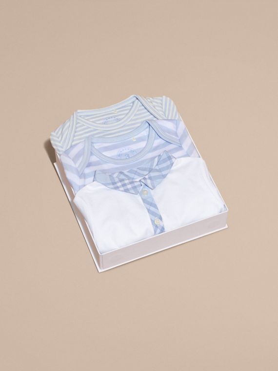 Cotton-Blend Three-piece Baby Gift Set in Ice Blue - Children | Burberry - cell image 3