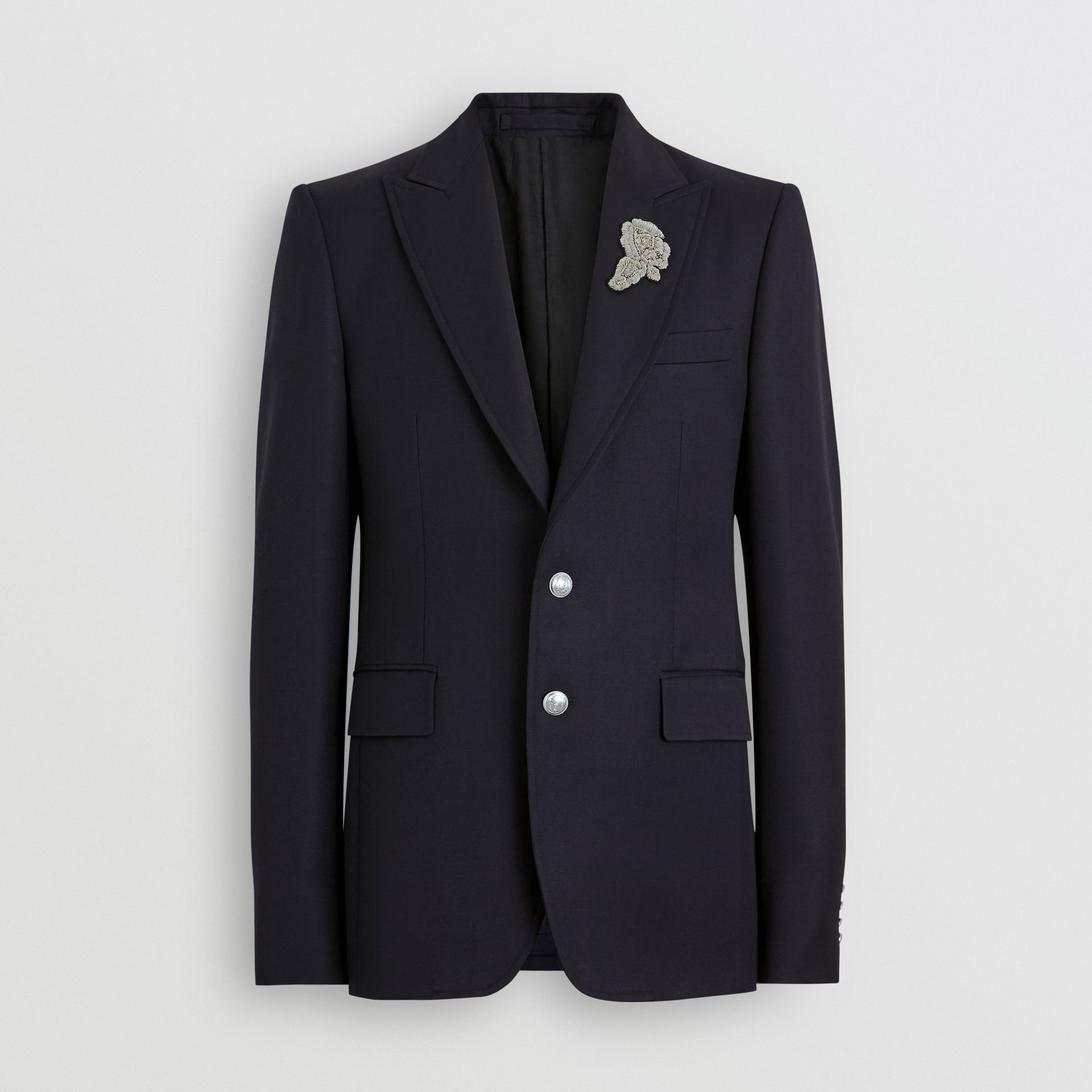 Slim Fit Bullion Floral Wool Gabardine Blazer in Black - Men | Burberry Singapore - gallery image 3