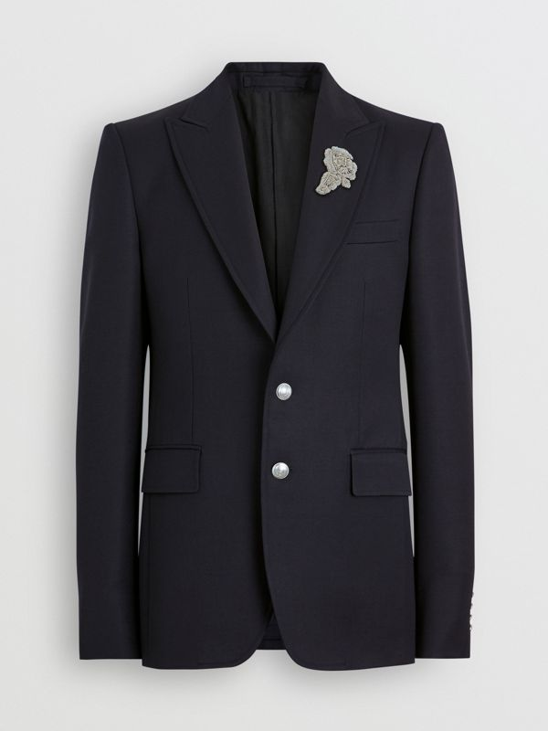 Slim Fit Bullion Floral Wool Gabardine Blazer in Black - Men | Burberry Singapore - cell image 3