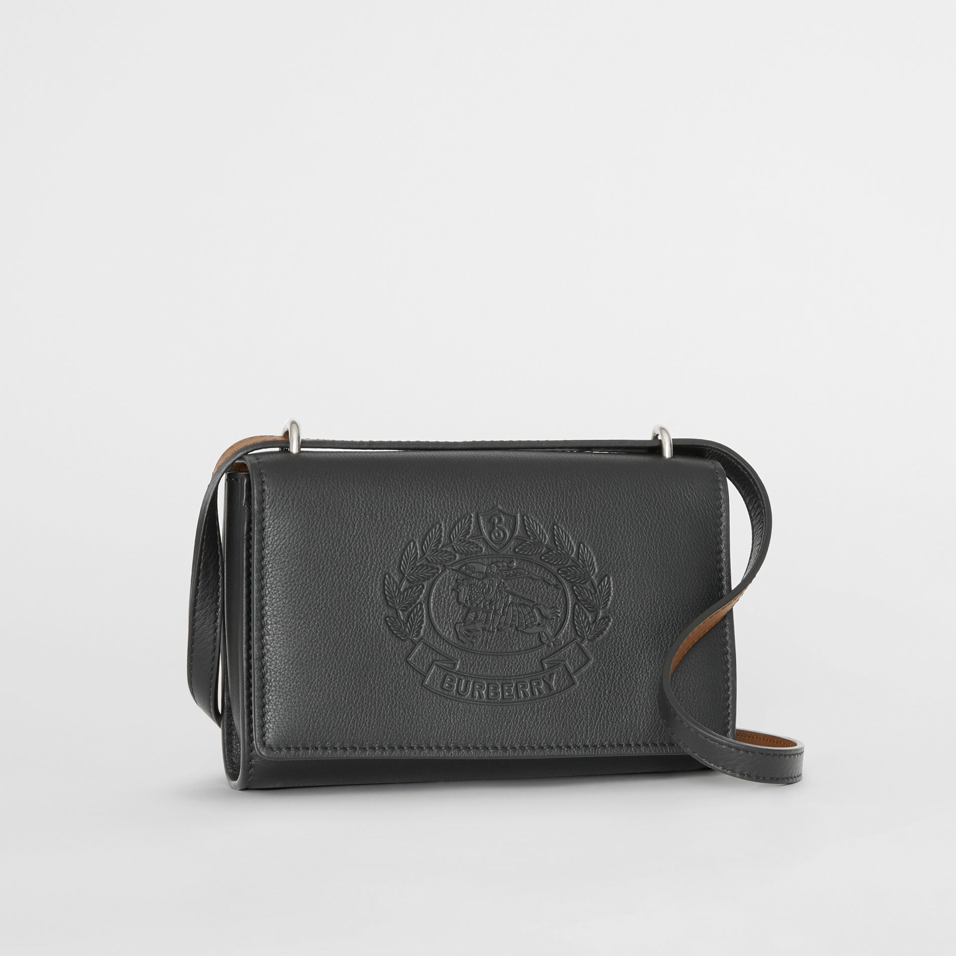 Embossed Crest Leather Wallet with Detachable Strap in Black - Women | Burberry Australia - gallery image 6