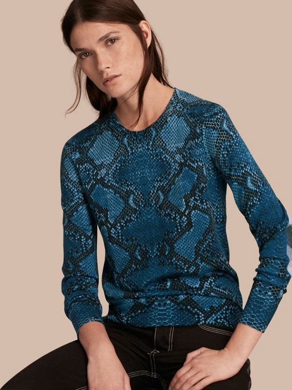 Check Detail Python Print Merino Wool Sweater Mineral Blue