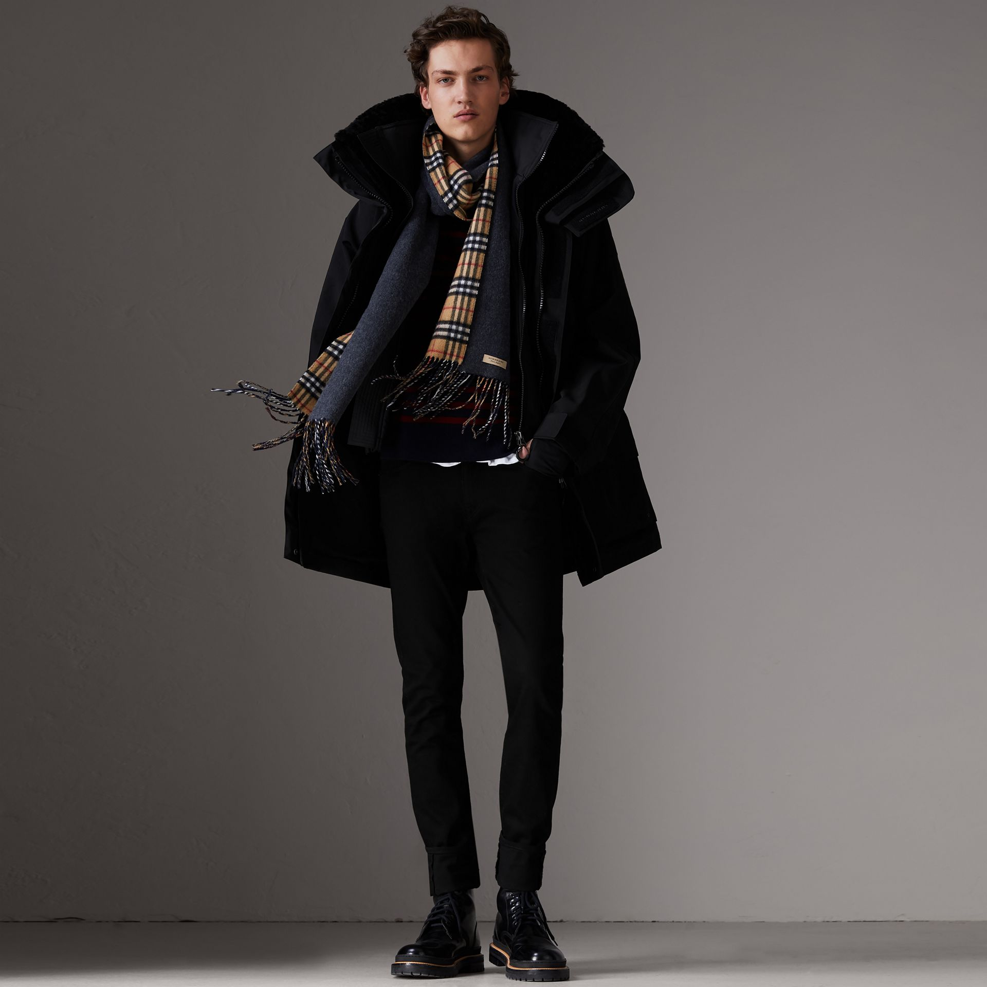 Detachable Shearling Collar Modular Jacket with Warmer in Black - Men | Burberry Canada - gallery image 0
