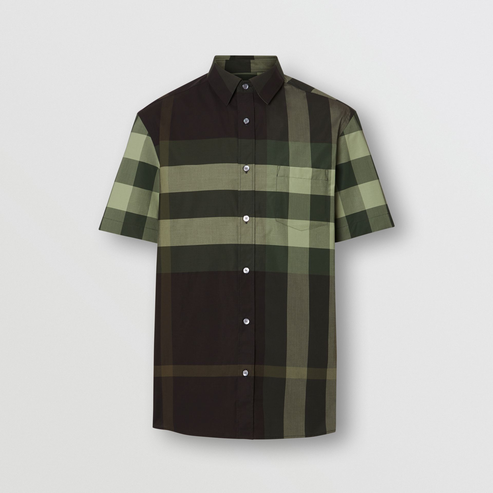 Short-sleeve Check Stretch Cotton Shirt in Dark Forest Green - Men | Burberry - gallery image 3