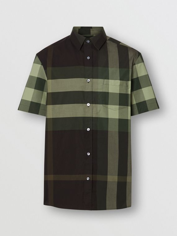 Short-sleeve Check Stretch Cotton Shirt in Dark Forest Green