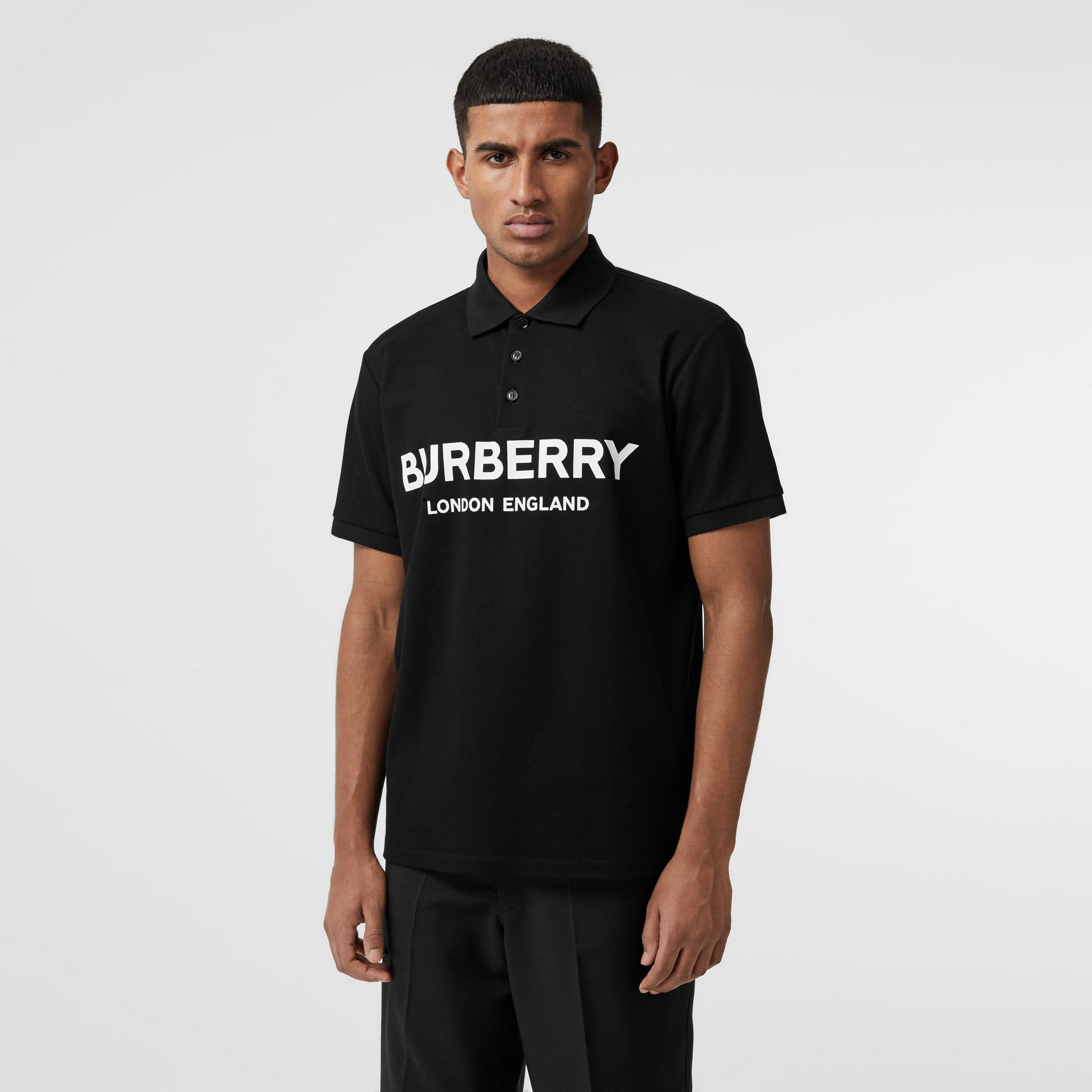 Logo Print Cotton Piqué Polo Shirt in Black - Men | Burberry Australia - gallery image 4