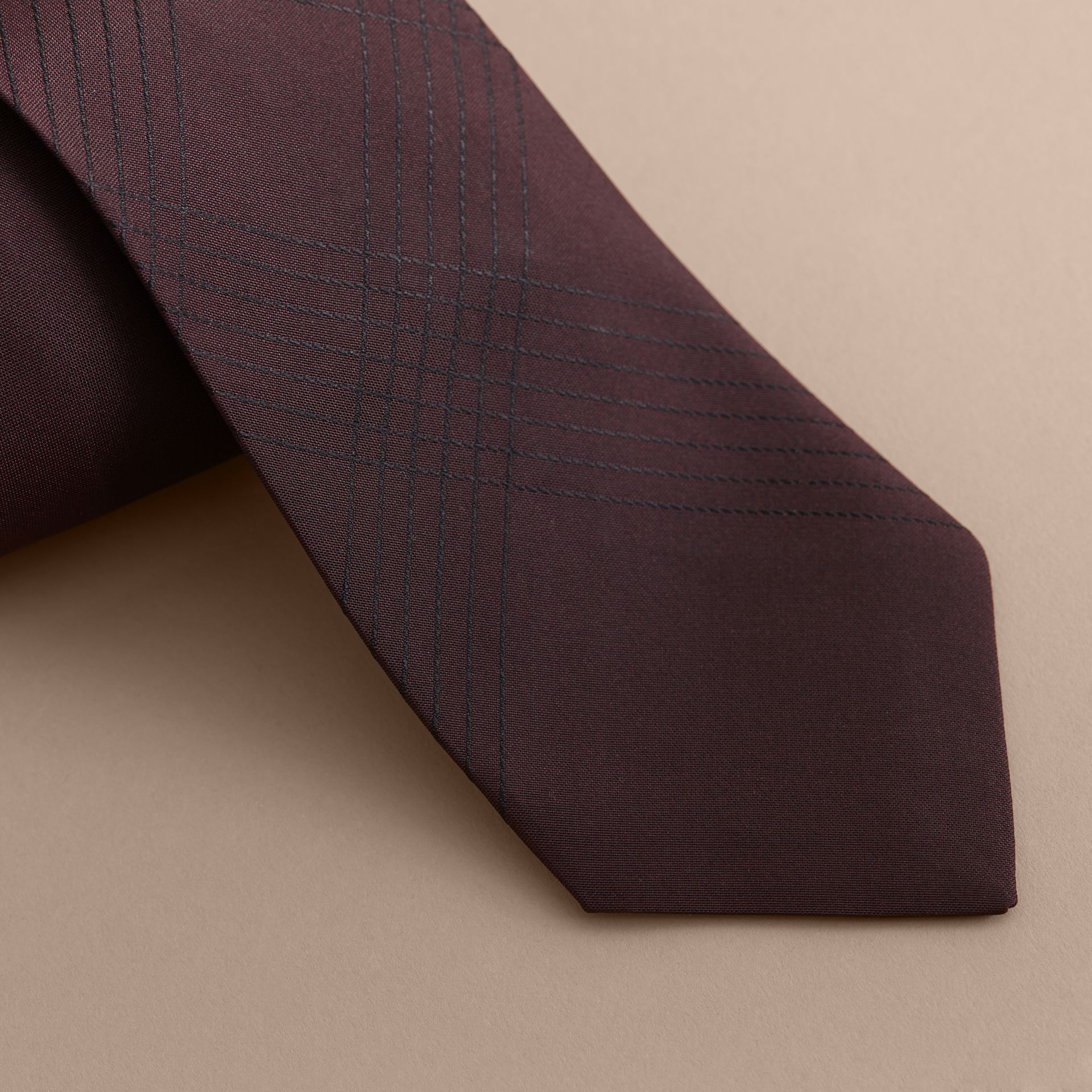 Modern Cut Topstitched Check Silk Tie in Burgundy - Men | Burberry Australia - gallery image 2