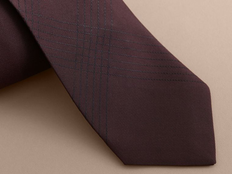 Modern Cut Topstitched Check Silk Tie in Burgundy - Men | Burberry - cell image 1