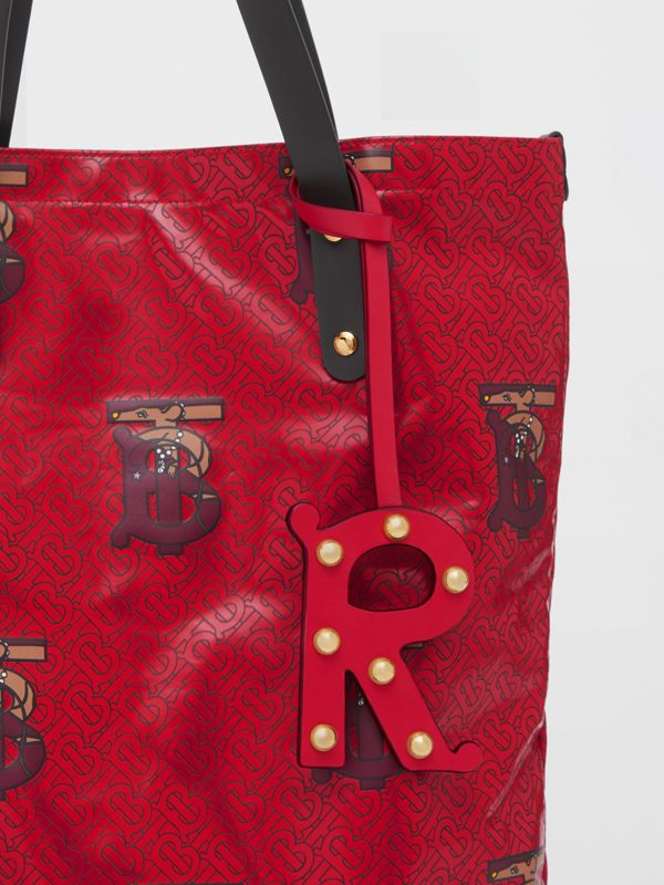'R' Studded Leather Alphabet Charm in Red/light Gold | Burberry - cell image 3