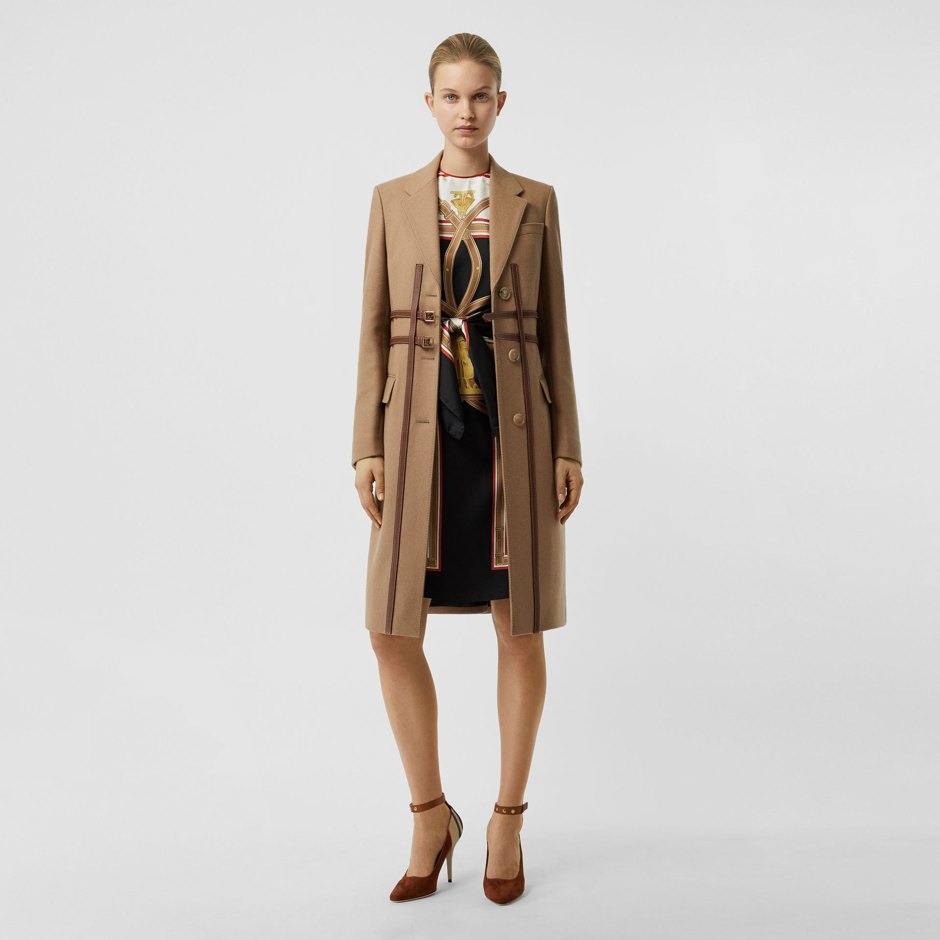 Leather Harness Detail Wool Tailored Coat in Camel - Women | Burberry - gallery image 0
