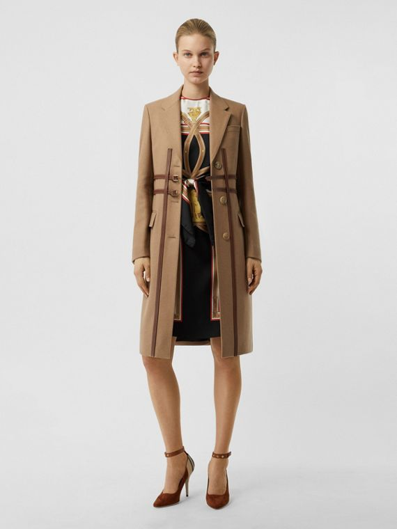 Leather Harness Detail Wool Tailored Coat in Camel