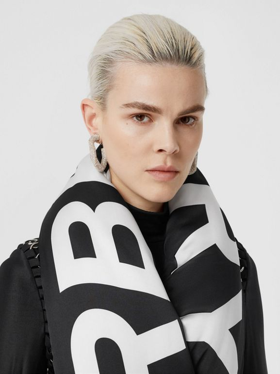 Horseferry Print Silk Puffer Scarf in Black/white | Burberry - cell image 1