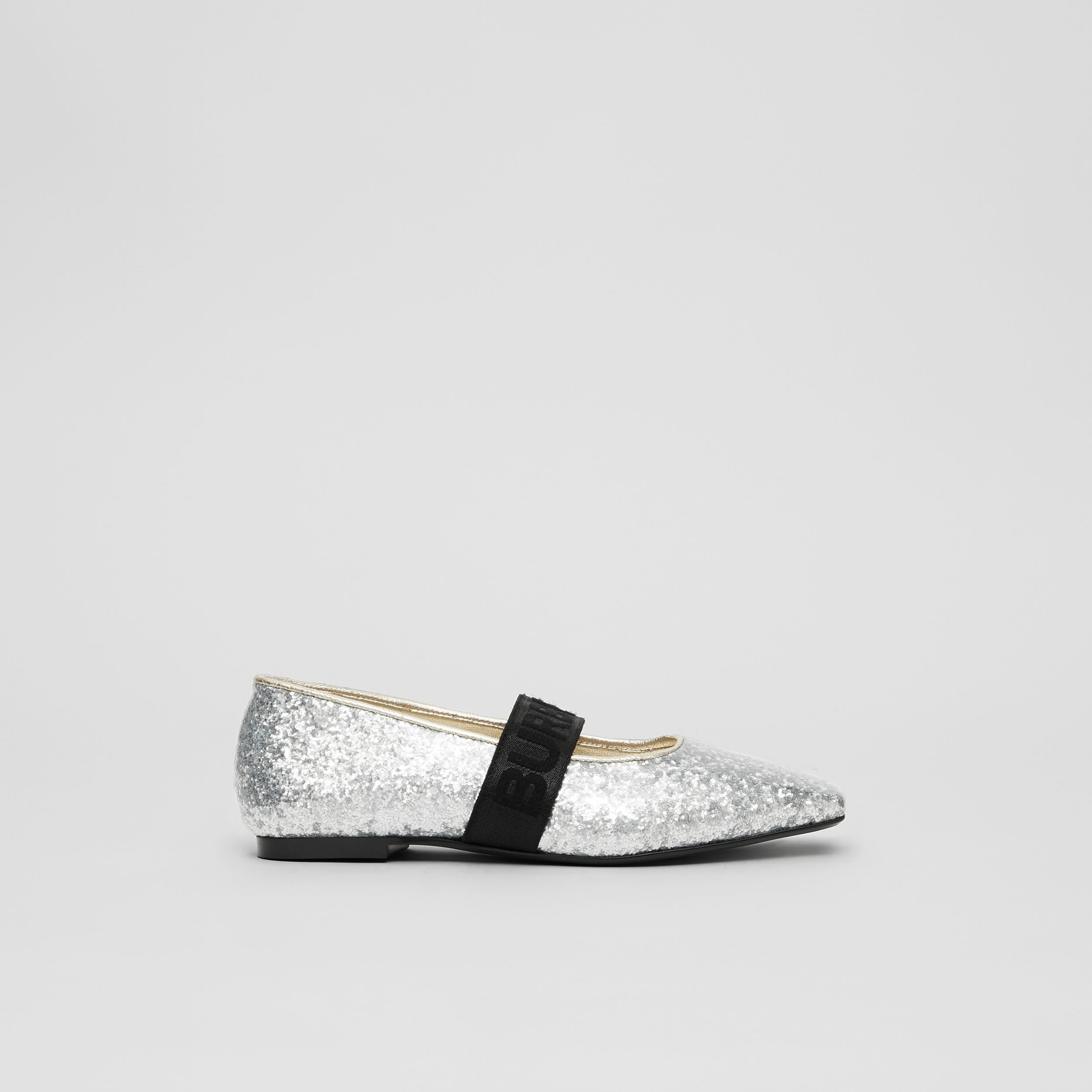 Logo Detail Glittery Flats in Silver - Children | Burberry - 4