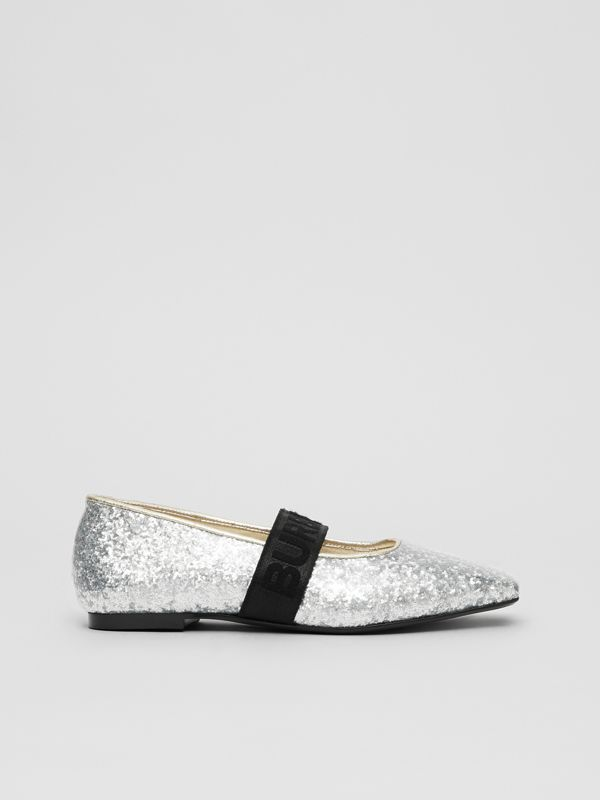 Logo Detail Glittery Flats in Silver - Children | Burberry - cell image 3