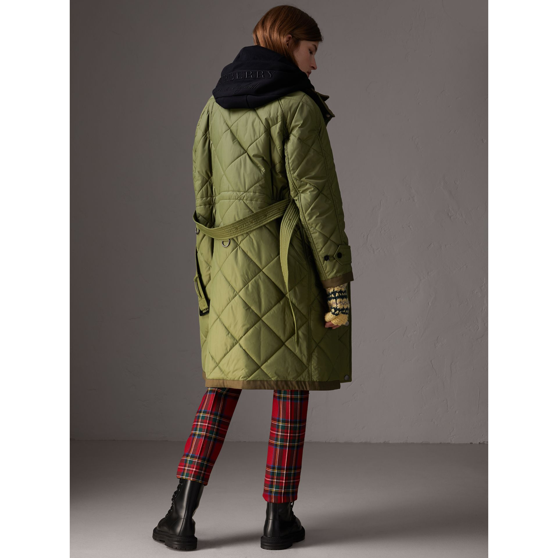 Packaway Hood Diamond Quilted Coat in Olive Green - Women | Burberry Singapore - gallery image 2