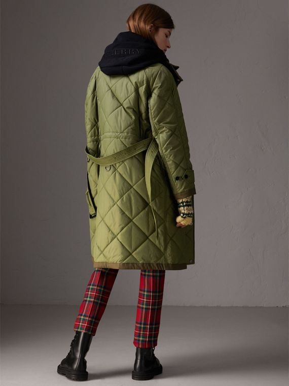 Packaway Hood Diamond Quilted Coat in Olive Green - Women | Burberry - cell image 2