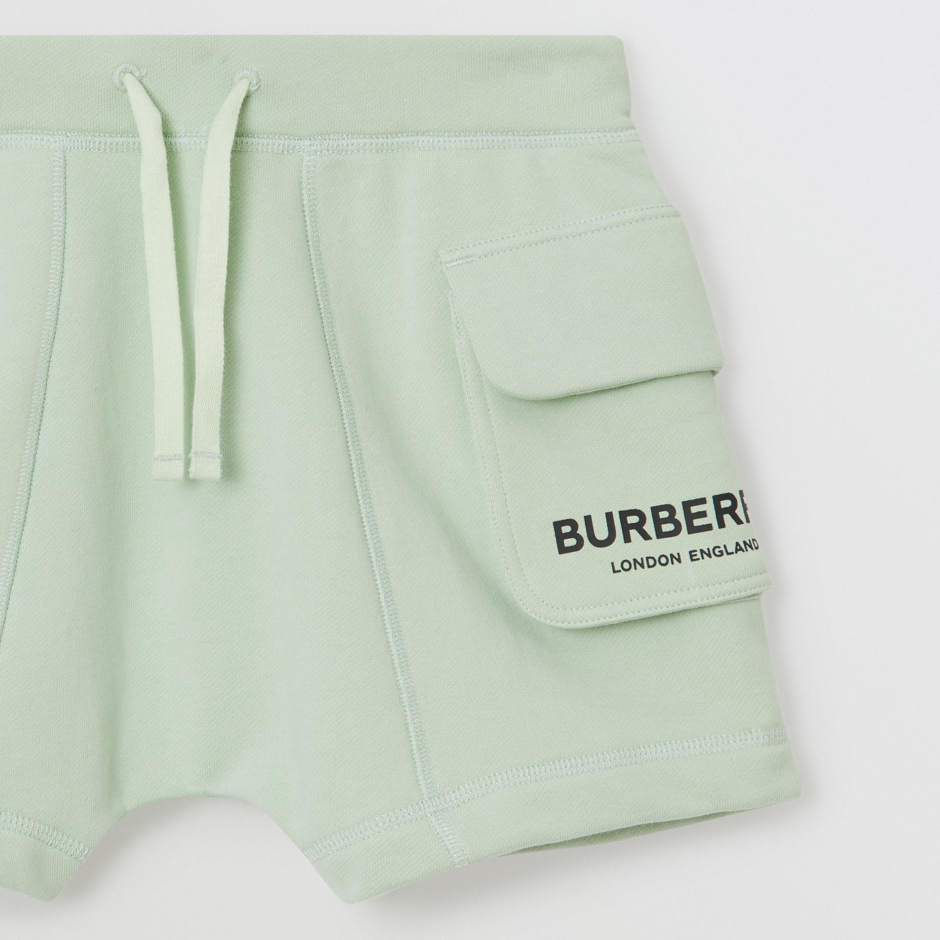 Short à cordon de serrage en coton avec logo (Menthe Pâle) | Burberry - photo de la galerie 4