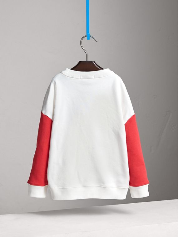 London Icons Print Cotton Jersey Sweatshirt in Natural White - Girl | Burberry Singapore - cell image 3