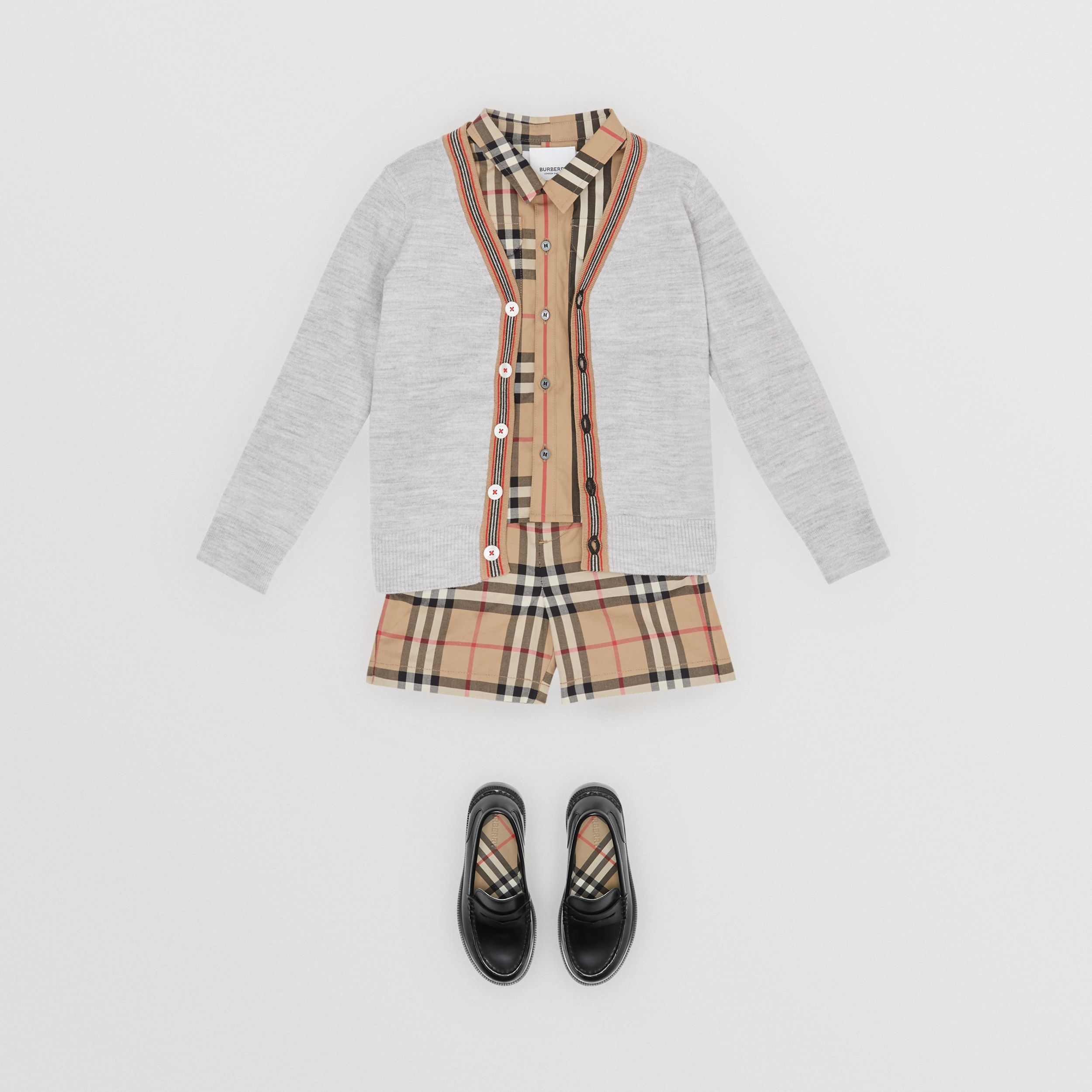 Icon Stripe Detail Merino Wool Cardigan in Light Grey Melange - Children | Burberry - 4