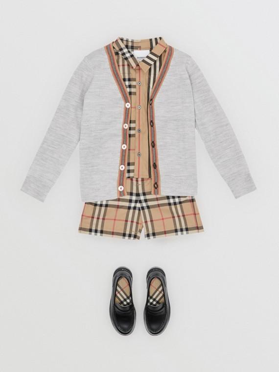 標誌性條紋細節美麗諾羊毛開襟針織衫 (淺混合灰)