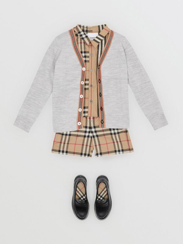 Icon Stripe Detail Merino Wool Cardigan in Light Grey Melange - Children | Burberry - cell image 3
