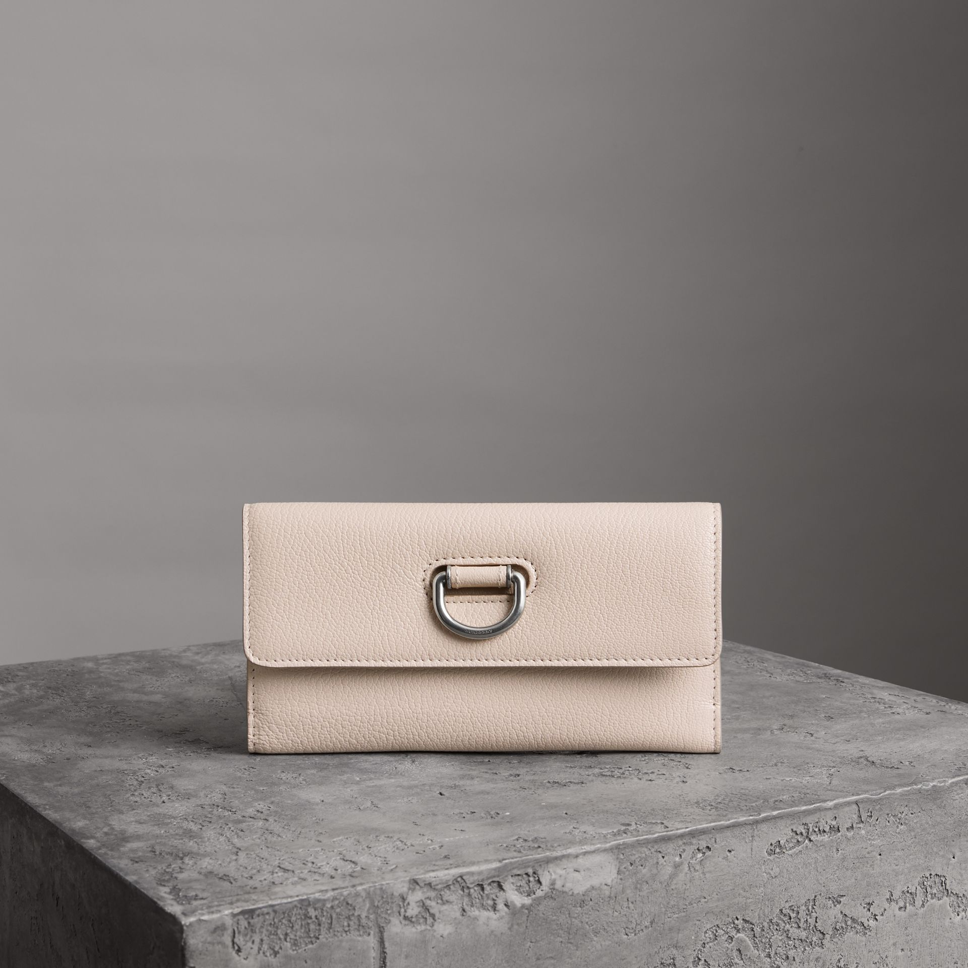 D-ring Grainy Leather Continental Wallet in Stone - Women | Burberry - gallery image 0