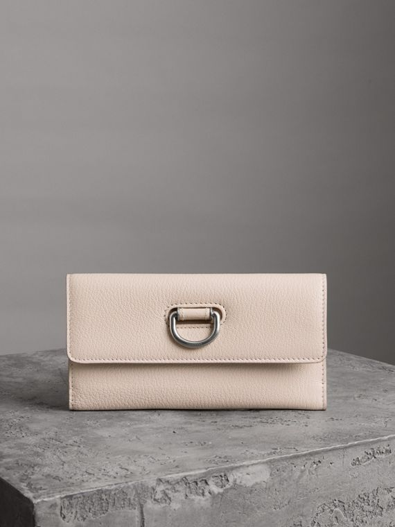 D-ring Grainy Leather Continental Wallet in Stone