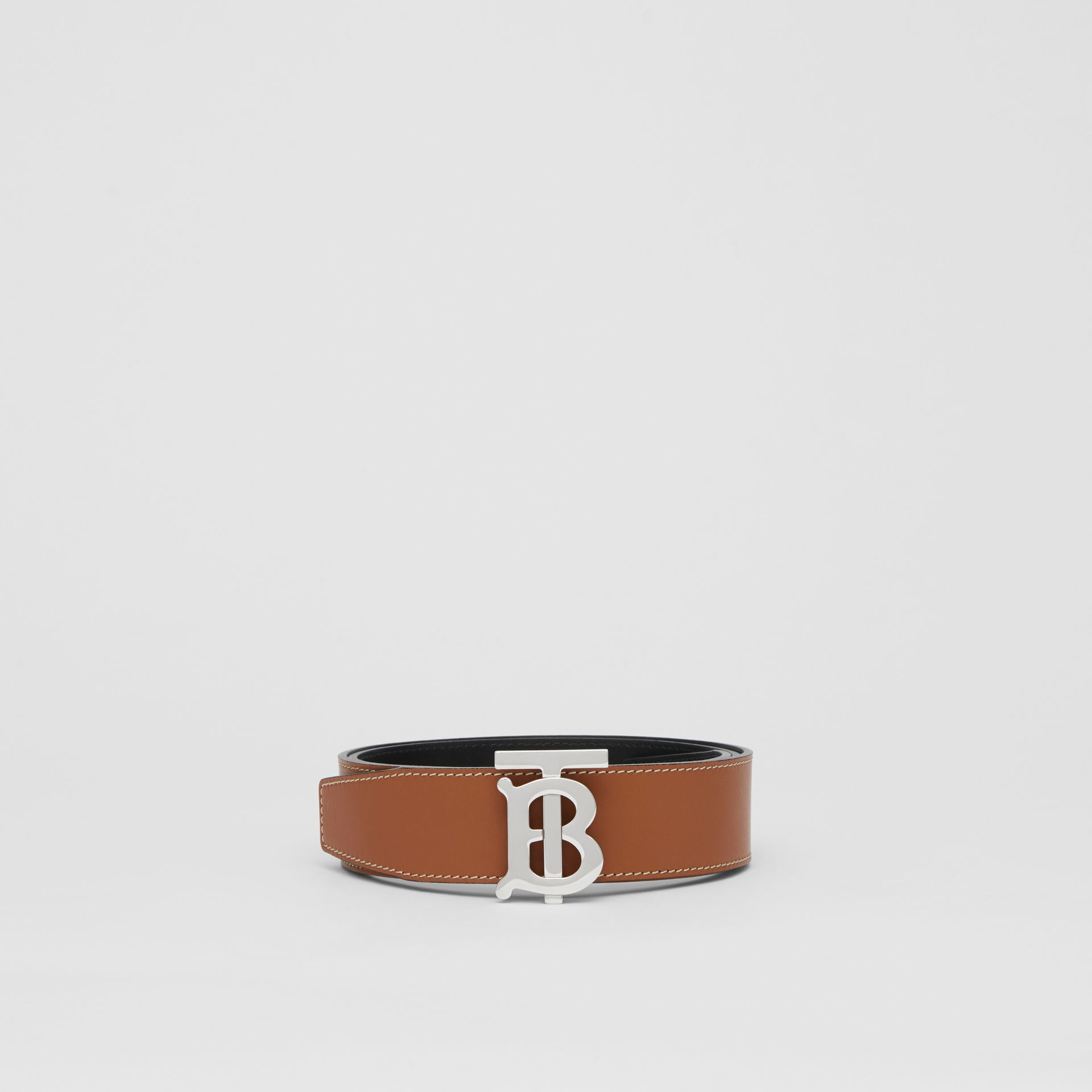 Reversible Monogram Motif Leather Belt in Tan/black - Men | Burberry Australia - gallery image 3