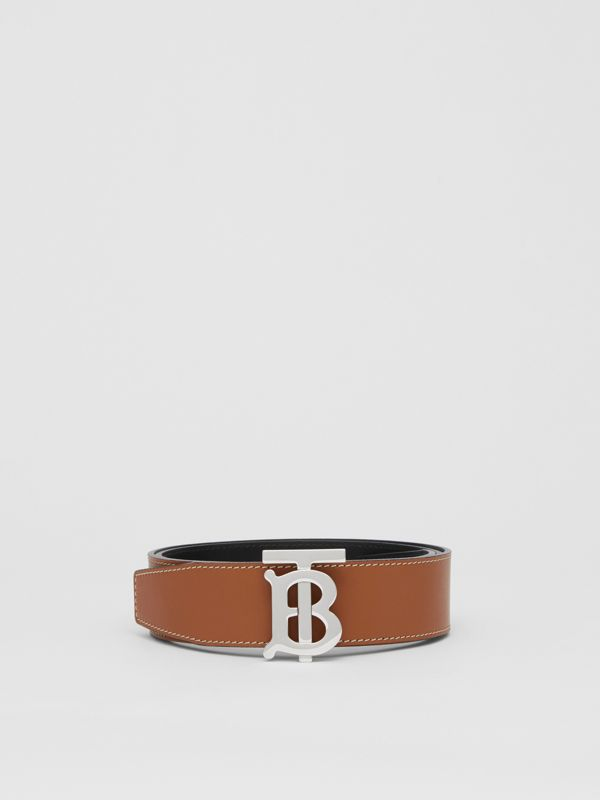 Reversible Monogram Motif Leather Belt in Tan/black - Men | Burberry Australia - cell image 3