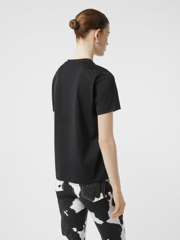 Monogram Motif Cotton T-shirt in Black - Women | Burberry United Kingdom - cell image 2