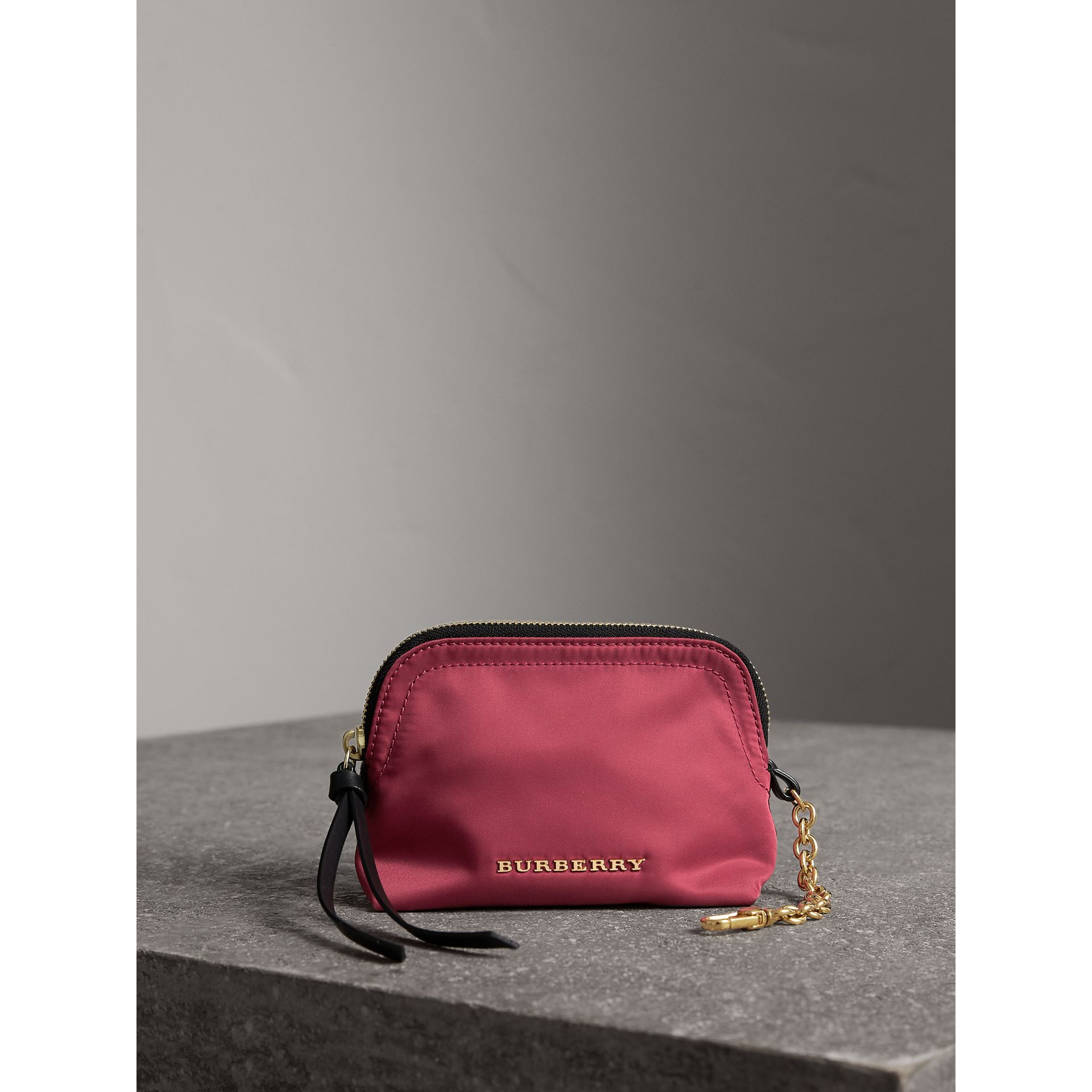 Small Zip-top Technical Nylon Pouch in Plum Pink - Women | Burberry - gallery image 1