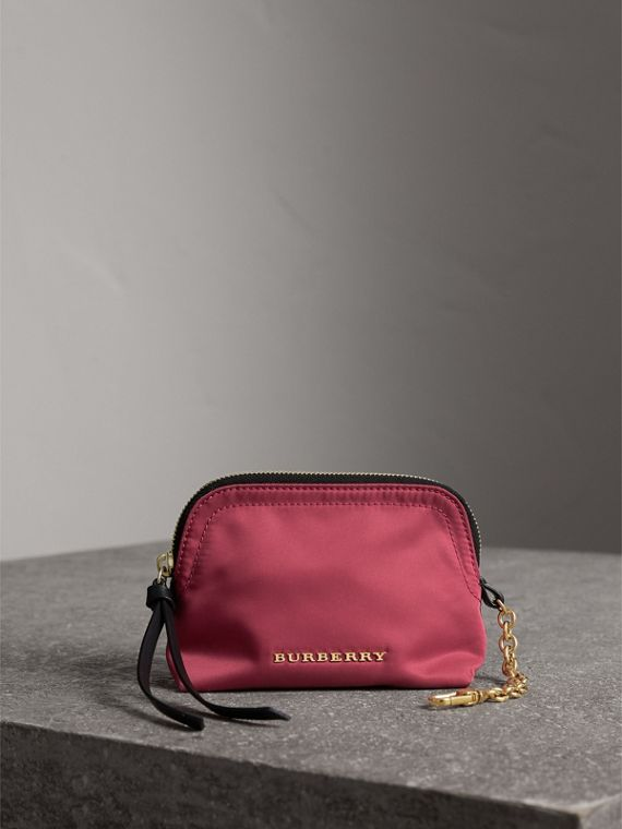 Small Zip-top Technical Nylon Pouch in Plum Pink - Women | Burberry