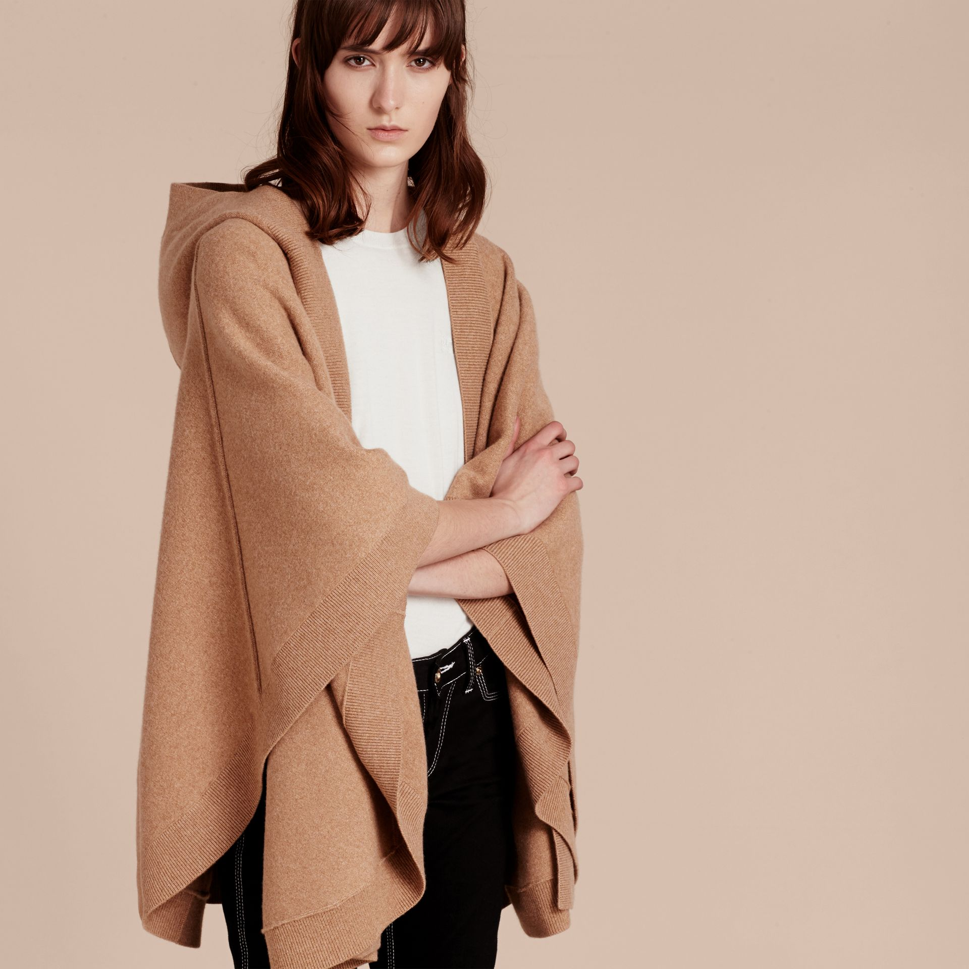 Camel Wool Cashmere Blend Hooded Poncho Camel - gallery image 6