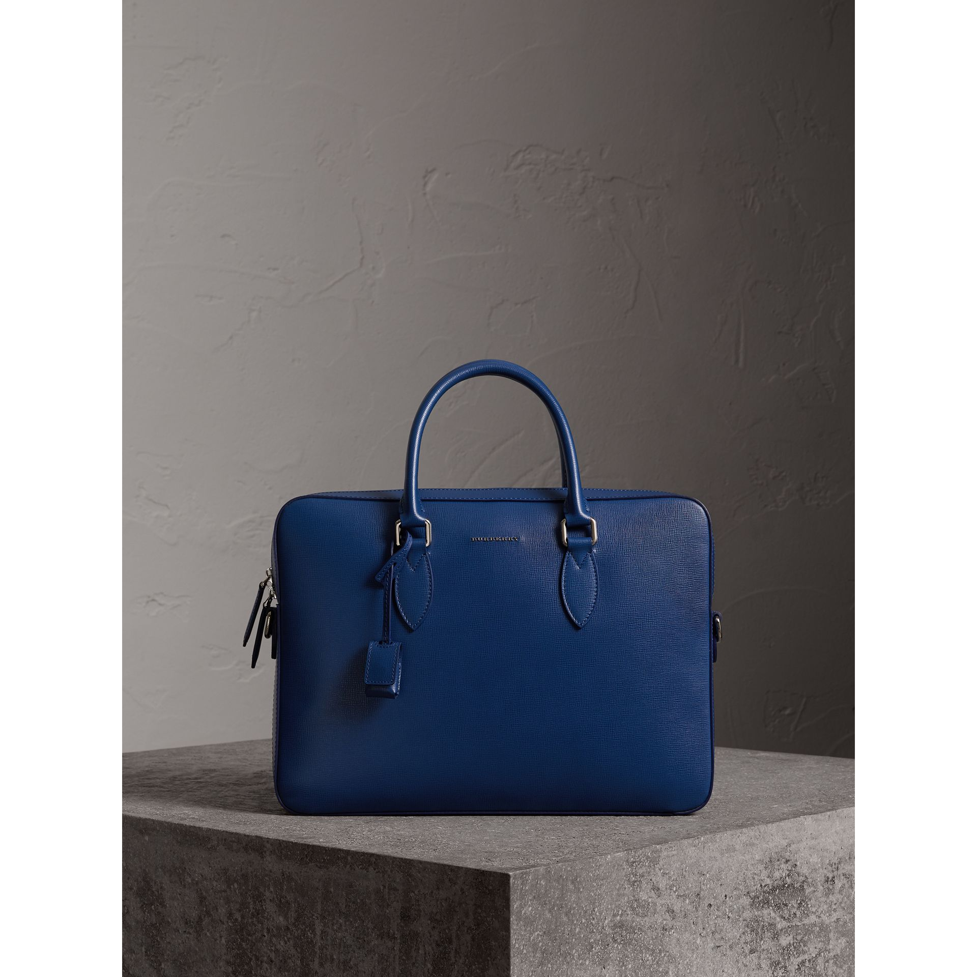 London Leather Briefcase in Deep Blue - Men | Burberry - gallery image 1