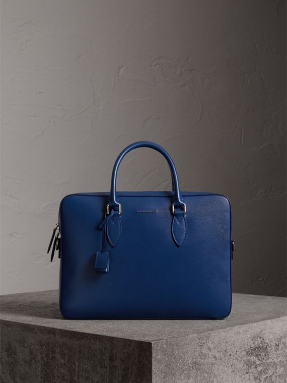 London Leather Briefcase in Deep Blue