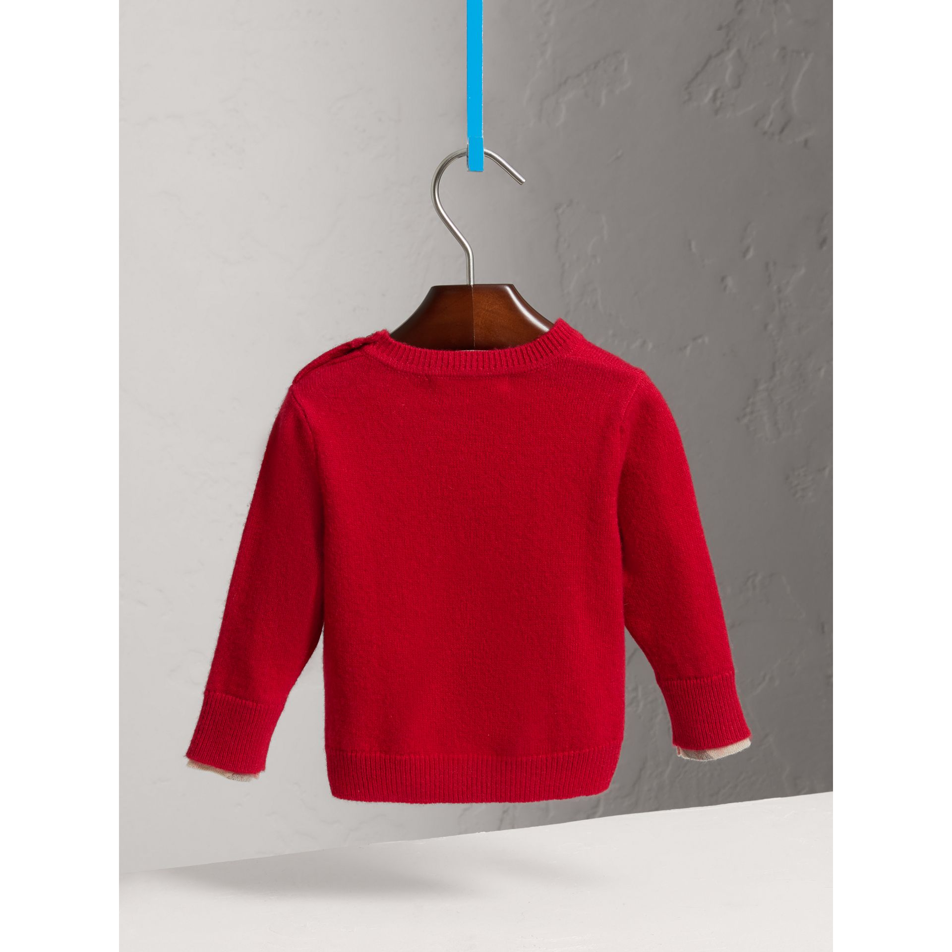 Check Detail Cashmere Sweater in Parade Red | Burberry Australia - gallery image 3