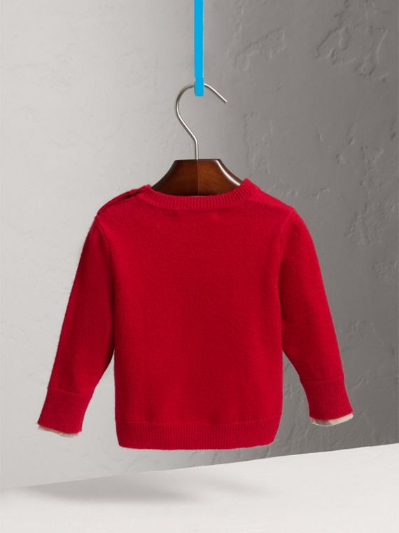 Check Detail Cashmere Sweater in Parade Red | Burberry Australia - cell image 3