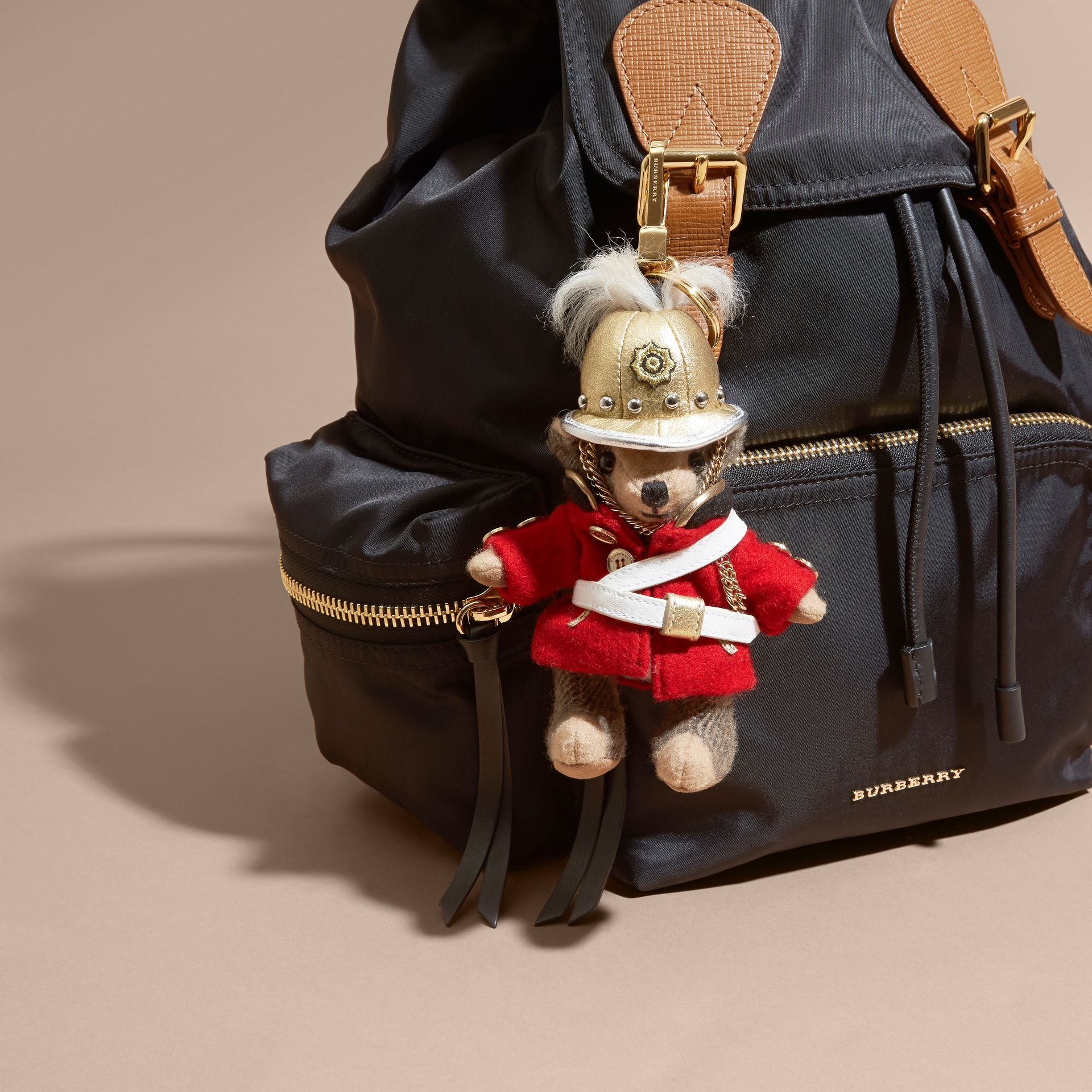 The Regimental Thomas Bear Charm in Camel | Burberry - gallery image 2