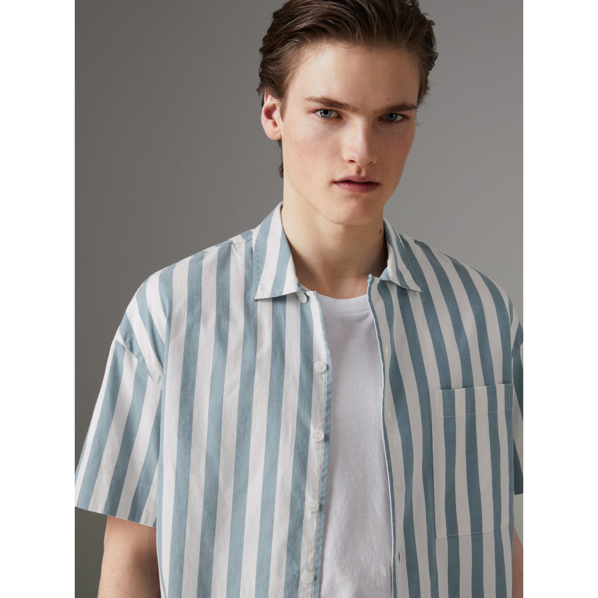 Short-sleeved Striped Cotton Shirt in Pale Opal - Men | Burberry Singapore - gallery image 1