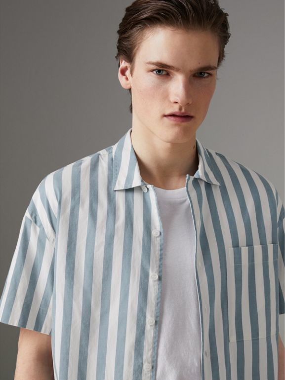 Short-sleeved Striped Cotton Shirt in Pale Opal - Men | Burberry - cell image 1