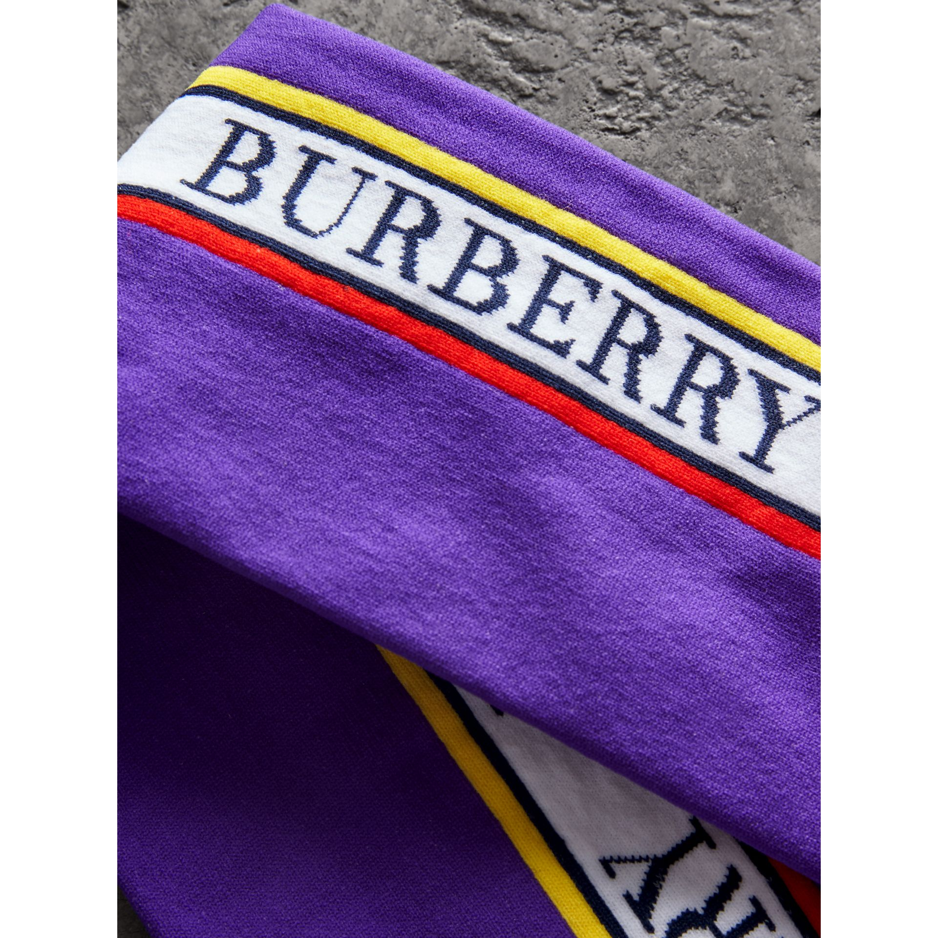 Logo Technical Knit Long Socks in Bright Purple | Burberry - gallery image 1