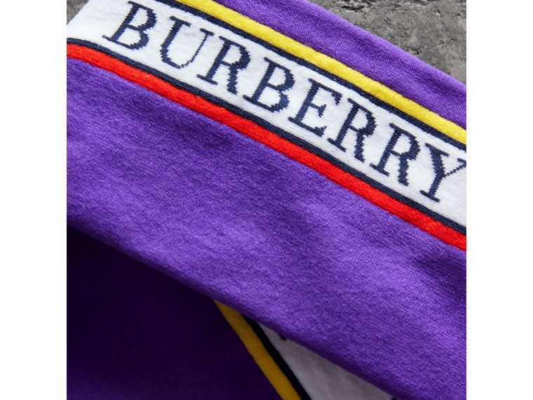 Logo Technical Knit Long Socks in Bright Purple - Women | Burberry - cell image 1