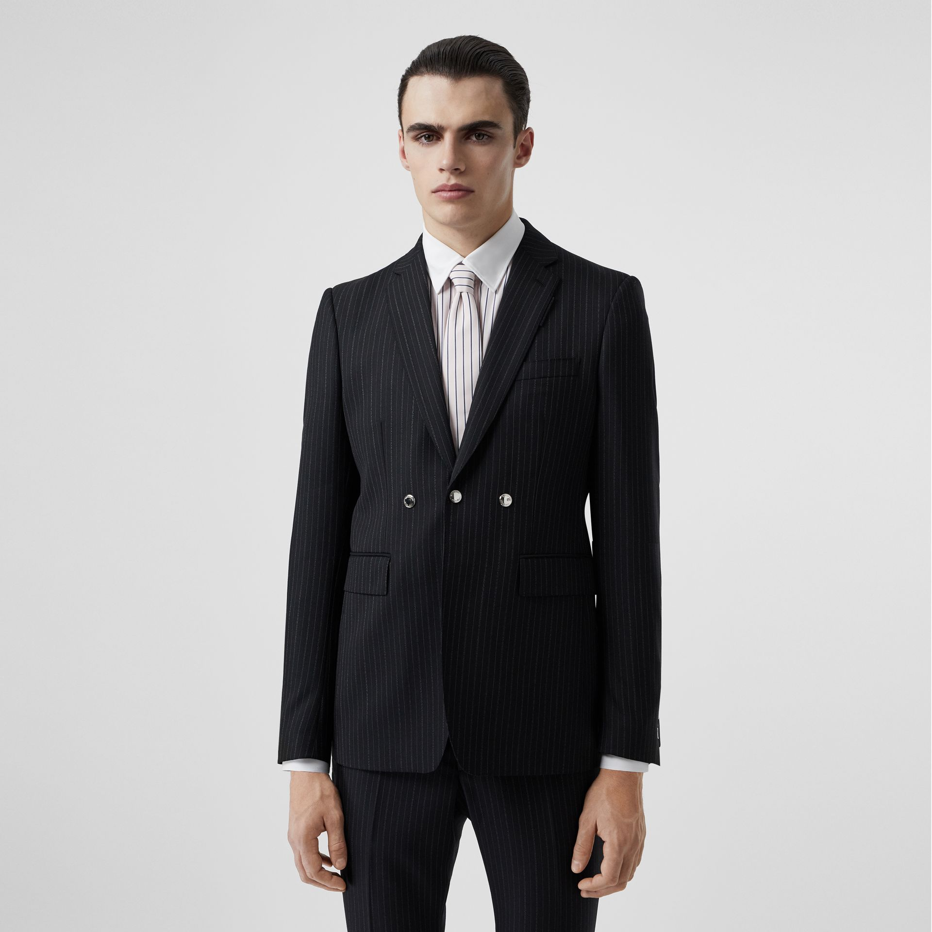 English Fit Triple Stud Pinstriped Wool Tailored Jacket in Black - Men | Burberry Hong Kong - gallery image 4