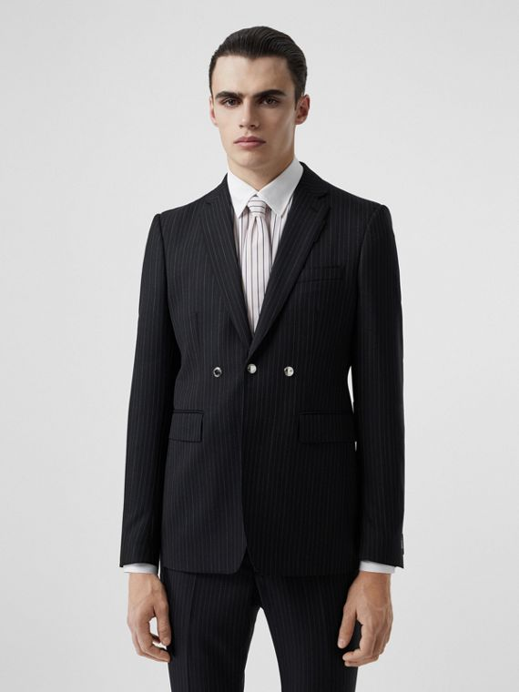 English Fit Triple Stud Pinstriped Wool Tailored Jacket in Black