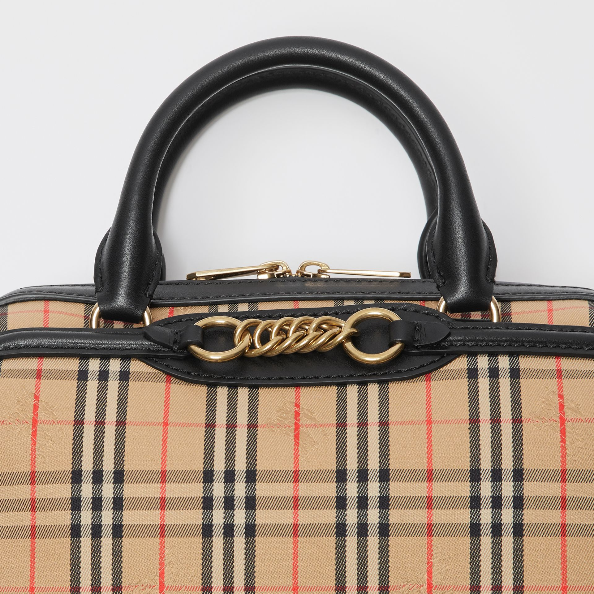 The Small 1983 Check Link Bowling Bag in Black - Women | Burberry - gallery image 1