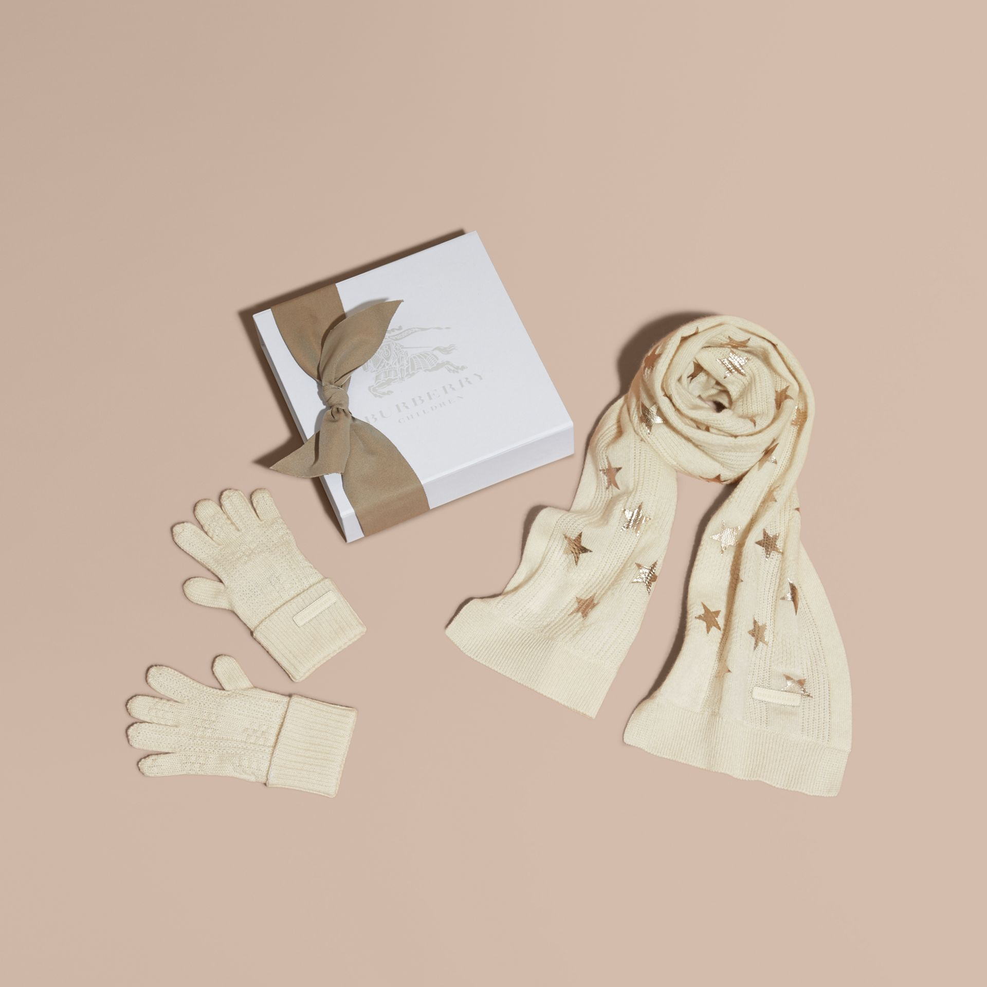 Ivory/gold Printed Cashmere Two-piece Gift Set - gallery image 1