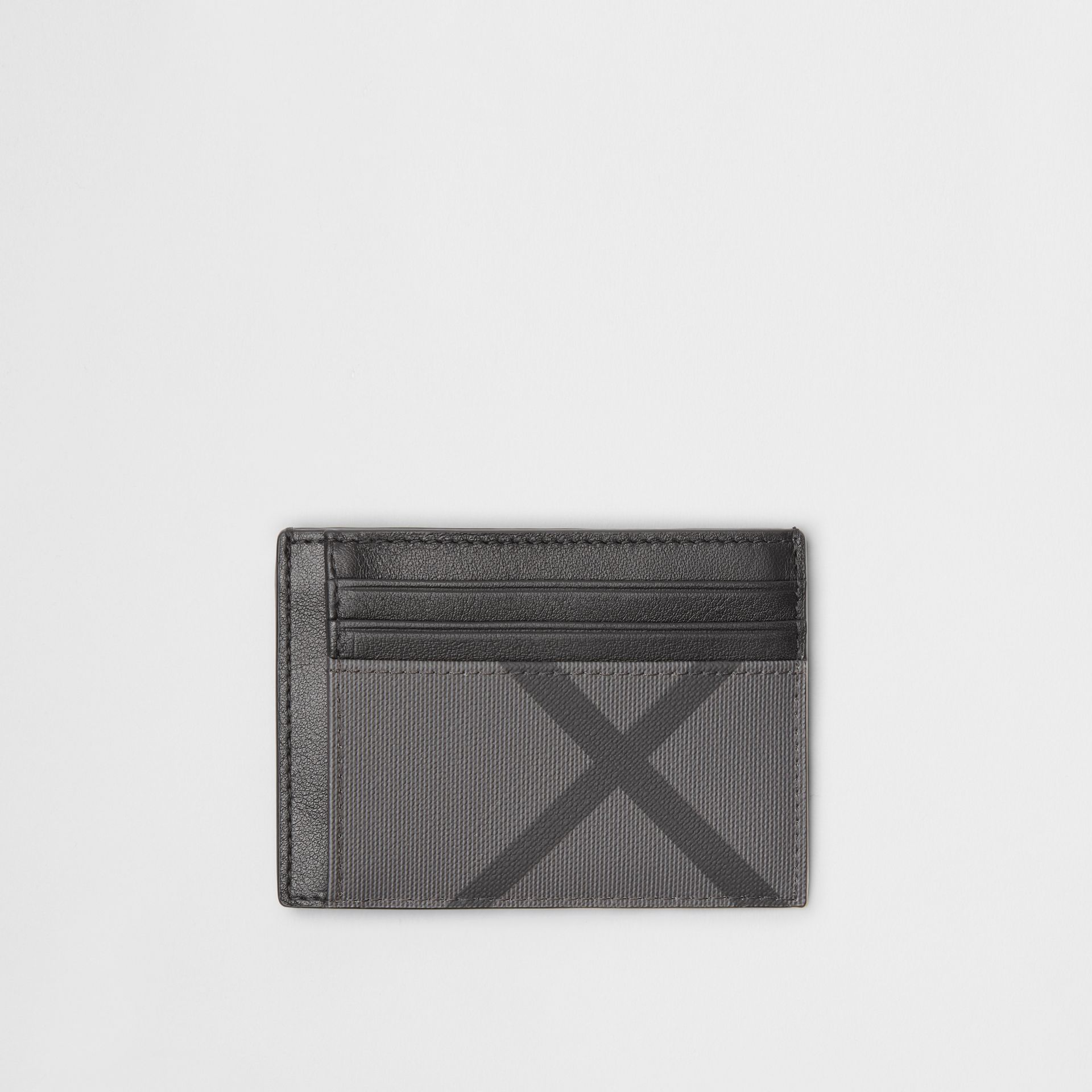 London Check and Leather Money Clip Card Case in Charcoal/black - Men | Burberry Australia - gallery image 0