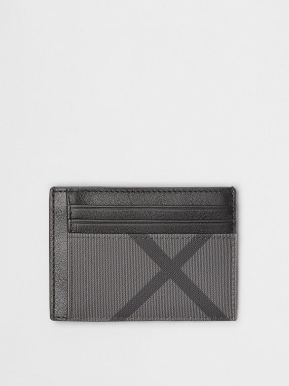 London Check and Leather Money Clip Card Case in Charcoal/black
