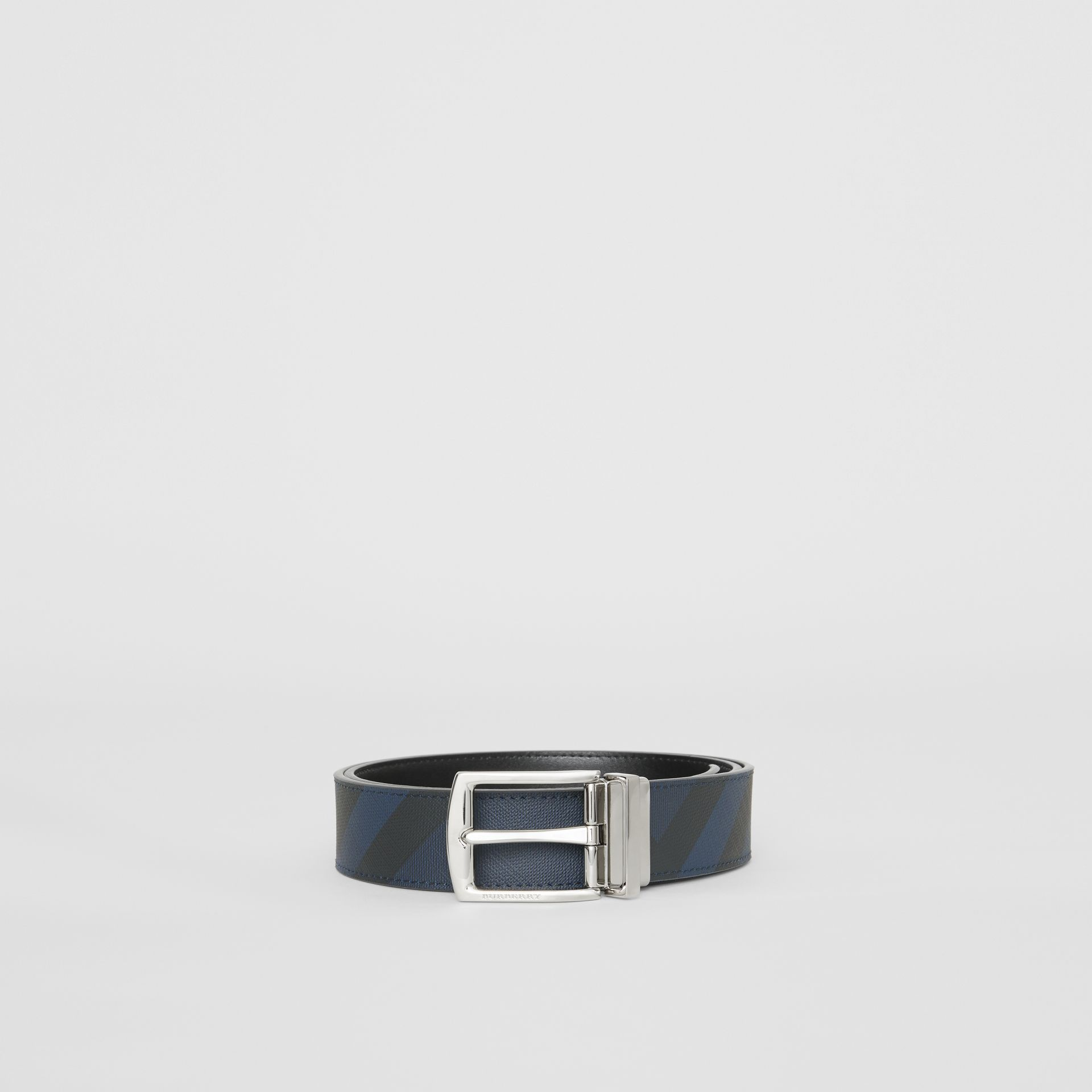 Reversible London Check and Leather Belt in Navy/black - Men | Burberry Hong Kong - gallery image 3