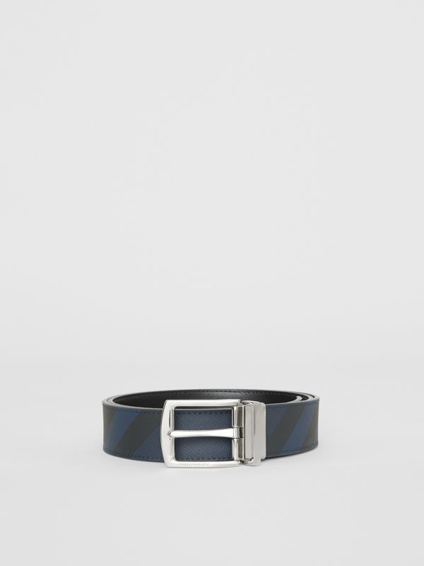Reversible London Check and Leather Belt in Navy/black - Men | Burberry United Kingdom - cell image 3