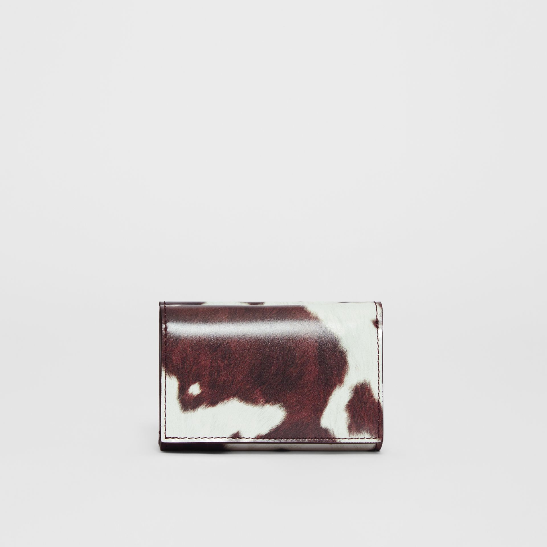 Small Cow Print Leather Folding Wallet in Malt Brown - Women | Burberry - gallery image 4